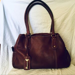 Fossil Burgundy Pebbled Leather Hobo Handbag